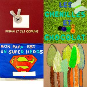 Couverture des 4 livres tactiles illustrés selectionné par la Belgique pour le concours Typhlo & Tactus 2019.